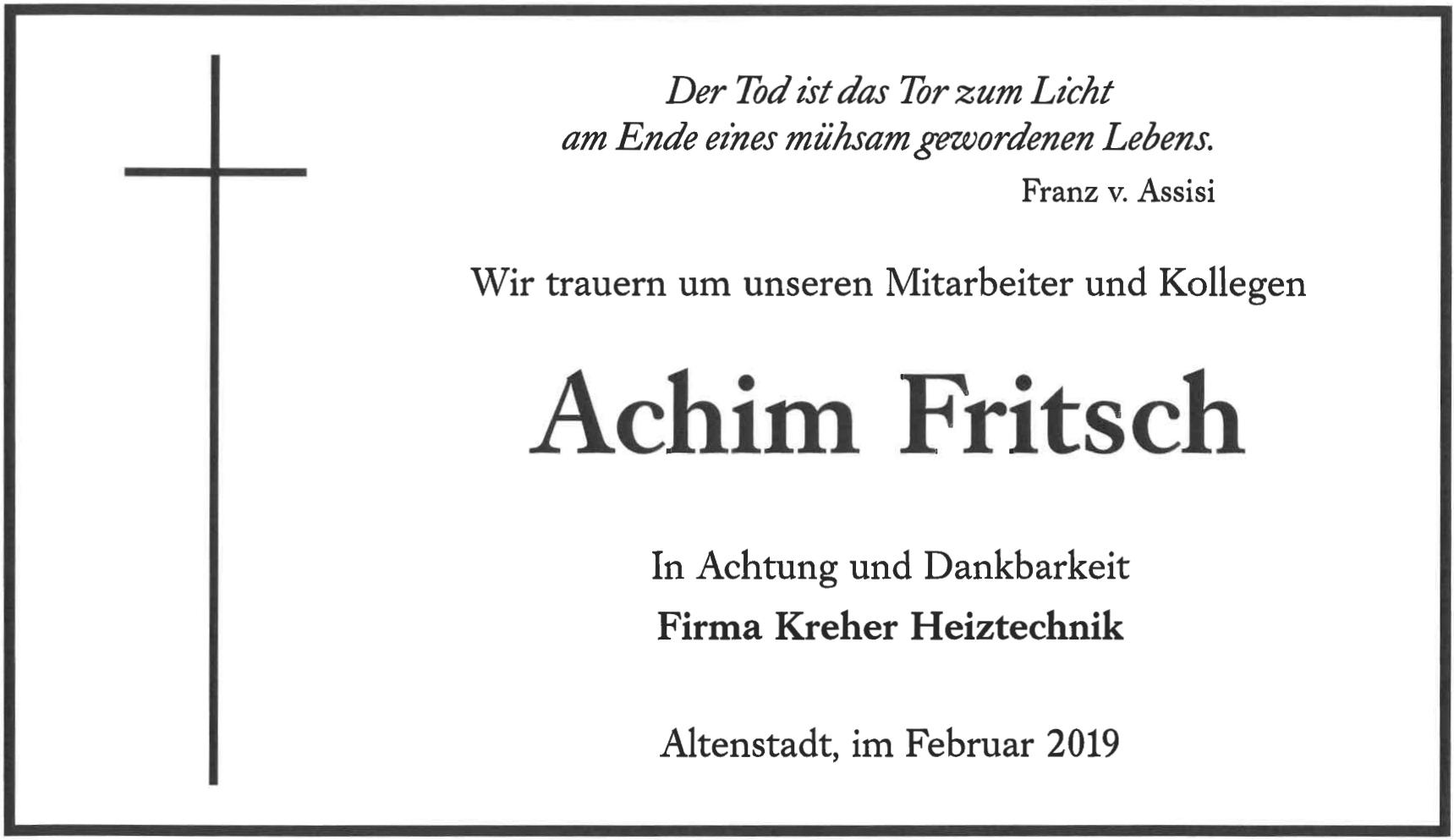 Traueranzeige Achim Fritsch